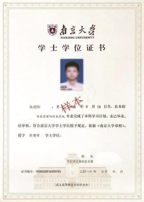 南京大学自考学士学位证书