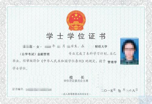 南京财经大学自考学士学位 证书样 本